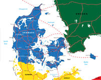 Denmark map. Highly detailed vector map of Denmark with administrative regions,main cities and roads
