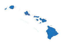 Hawaii map. Highly detailed vector map of Hawaii with administrative regions,main cities and roads Stock Images