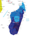 Madagascar map. Highly detailed vector map of Madagascar with administrative regions,main cities and roads Stock Image