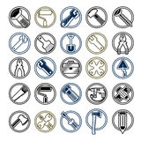 Highly detailed work tools collection, industry vector Stock Photos