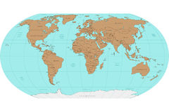 Highly detailed World map. Vector illustration. Royalty Free Stock Photos