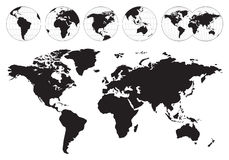 Highly detailed world maps Stock Photography
