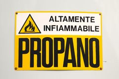 Highly flammable Italian warning. Highly flammable warning sign in Italian Stock Image
