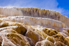 Highly Geothermal Landscape of Yellowstone National Park. Geothermal solfatara at mammoth hot springs of yellowstone national park viewed close up to show the Royalty Free Stock Image
