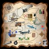 Pirate Map Elements Vector Kit - Use these elements to make your own map - For print, web, apps, games, media. Highly ornate  design illustrations Royalty Free Stock Photo