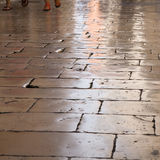 Highly polished flagstones. Of an old street in Croatia (Zadar Stock Image