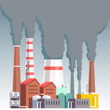Highly polluting factory plant. With smoking towers and pipes. Carbon dioxide emissions. Environment contamination. Flat style vector illustration Stock Photo