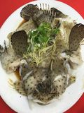 Highly prized Mouse Grouper steamed in Chinese Soy Sauce. This image was taken in a restaurant with the fish considered to be the finest of all groupers. The Stock Photo