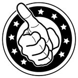 Highly Recommended, Thumb Up Vector. Vector hand with thumb up over inside circles over white background royalty free illustration