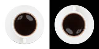 Highly stylised image of coffee cup and saucer on black and whit Royalty Free Stock Photo
