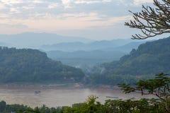 The highly visible Luang Prabang, Laos. The city began to fog af Royalty Free Stock Photos