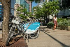 Highmark bikes in downtown Pittsburgh stock photography