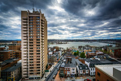 Highrise apartment building and view of the Susquehanna River, i Stock Photos
