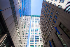 Highrise buildings in Wall Street financial Stock Image