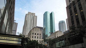 Highrise buildings in Wall Street financial district Royalty Free Stock Images