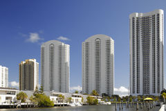 Highrise buildings and waterfront townhomes Stock Photos