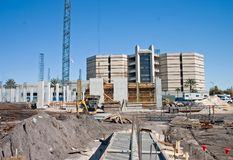 Highrise condo construction site. New foundation at a construction site for a luxury condominium Stock Photos