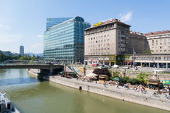 Highrise and quay of Danube canal in Vienna Stock Images