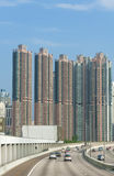 Highrise residential buildings and highway Stock Photography
