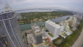 Highrise towers Miami Beach aerial 4k stock footage
