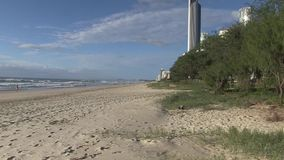 Highrise at water`s edge, Elston`s beach, aka `Surfer`s Paradise`. stock video footage