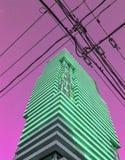 Highrisebyggnad med grönt glöd mot trådar för purpurfärgad himmel och för svart makt Royaltyfria Bilder