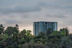 Highrisebyggnad som når en höjdpunkt över vegetation på solnedgången med moln royaltyfri bild