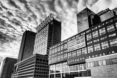 Highrises along Pratt Street at the Inner Harbor in Baltimore, M. Aryland royalty free stock photos