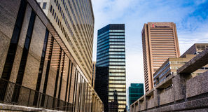 Highrises at Hopkins Plaza, in Baltimore, Maryland. Royalty Free Stock Photo