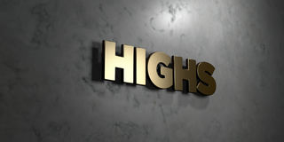 Highs - Gold sign mounted on glossy marble wall  - 3D rendered royalty free stock illustration Stock Image