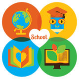 Highschool education bacground with place for text. Modern flat illustration. Design element royalty free illustration