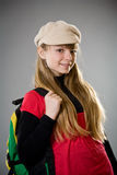 Highschool girl wearing beret Stock Photography