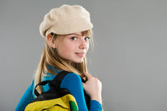 Highschool girl wearing beret Royalty Free Stock Photo