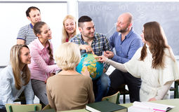 Highschool students at geography class Stock Image