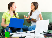 Highschool students studying at home Stock Photos