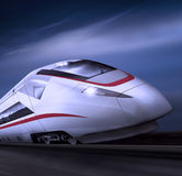 Highspeed train moving at night (Include path) Royalty Free Stock Images