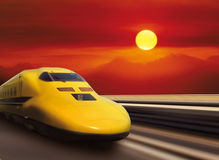 Highspeed yellow train Stock Photo