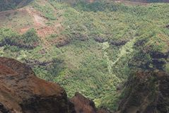 The Hight. The view from high above to Waimea Canyon on Kauai island, Hawaii royalty free stock images