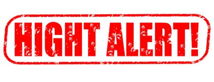 Hight alert! red stamp. High alert red stamp on white background Royalty Free Stock Images