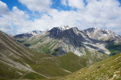 In hight mountains. View of gorge from the pass it is high in the mountains Royalty Free Stock Photography