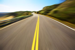 Hight speed driving. On the empty road Stock Photos