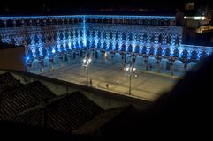 Hight square, Plaza Alta of Badajoz, illuminated by led lights a. Hight square of Badajoz,  illuminated by led lights at night. View from Alcazaba battlements Royalty Free Stock Photos