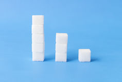 Hight to low stacks of sugar cubes with blue background, health