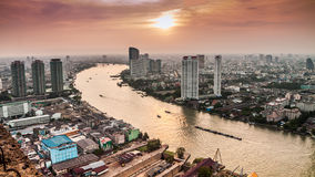 Hight view of Bangkok city with modern building and  inland wate Stock Images