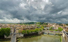 Hight view Rome with Bridge over the River Tiber stock photos