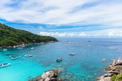 Hight view on tropical turquoise lagoon with sandy beach and tro Stock Image