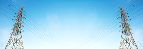 Hight Voltage Electricity post on clear Sky Banner Stock Photography