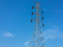 Hight voltage line. Power with electricity pylons Stock Photos