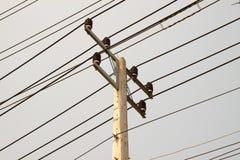 Hight voltage pole on sky background Stock Photo