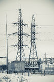Hight voltage power transmission tower royalty free stock image